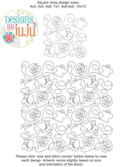 Halloween 1 End-to-End E2E Allover Edge to Edge Quilting Machine Embroidery Designs by JuJu