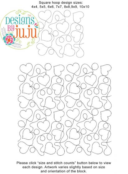 Hearts Loops End-to-End Quilting Machine Embroidery Pattern Designs by JuJu for Edge to Edge Continuous Line Quilting With Your Embroidery Machine