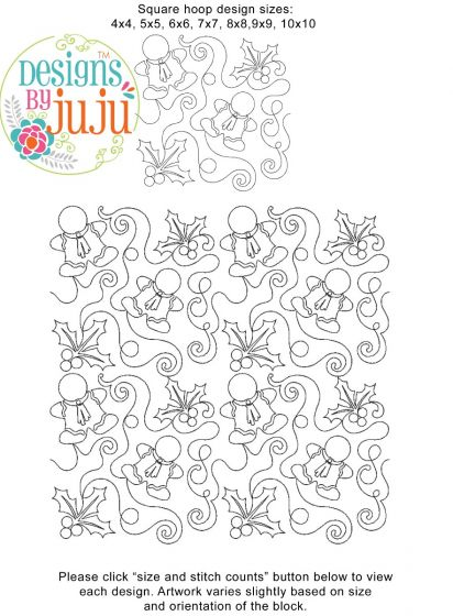 Holly Gingerbread End-to-End Quilting Embroidery Design