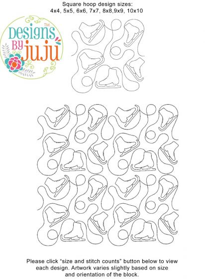 Ice Skates End-to-End Quilting Embroidery Design