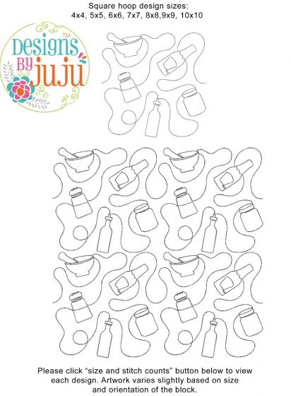 Kitchen Spice End-to-End E2E Allover Edge to Edge Quilting Machine Embroidery Designs by JuJu