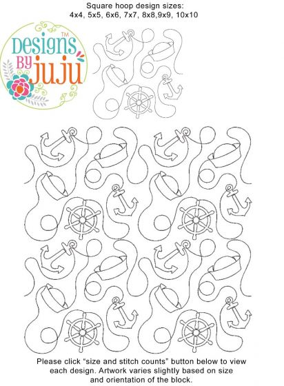 Nautical 1 Ribbon End-to-End Quilting Machine Embroidery Designs by JuJu E2E Edge to Edge