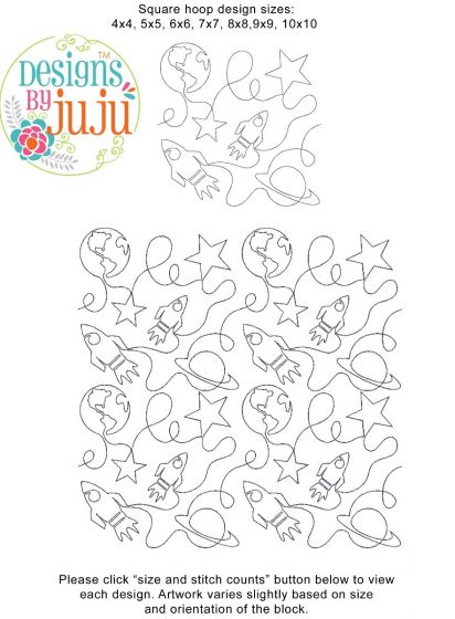 Outer Space End-to-End E2E Allover Edge to Edge Quilting Machine Embroidery Designs by JuJu