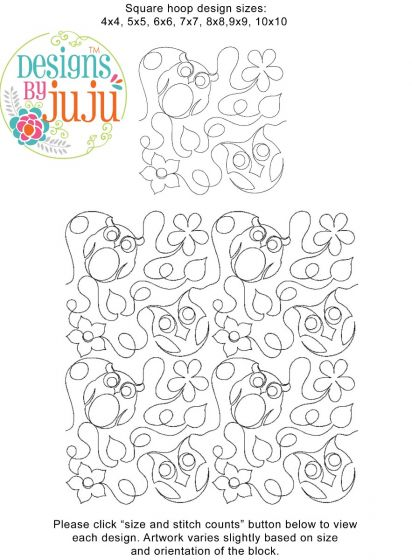 Owls End-to-End Quilting Embroidery Design