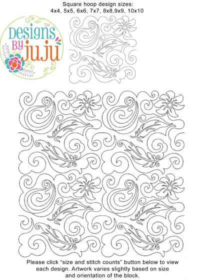 Paisley 2 End-to-End Quilting Machine Embroidery Designs by JuJu Edge to Edge E2E
