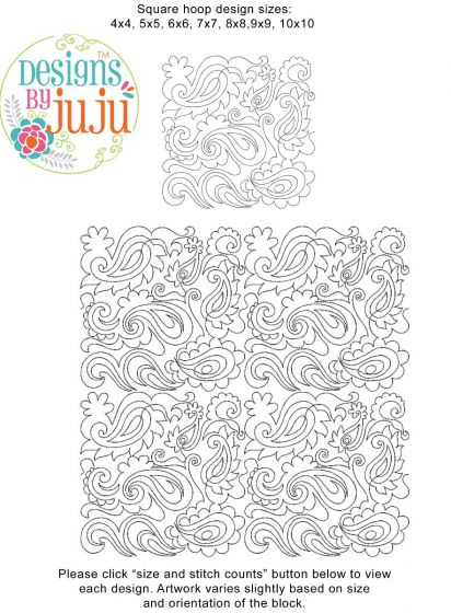 Paisley 3 End-to-End E2E Allover Edge to Edge Quilting Machine Embroidery Designs by JuJu