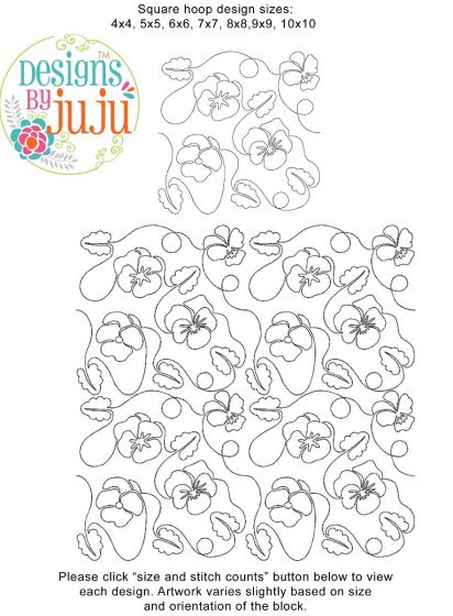 Pansy And Leaves End-to-End E2E Allover Edge to Edge Quilting Machine Embroidery Designs by JuJu