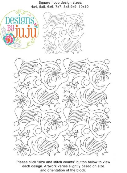 Patriotic 1 End-to-End Quilting Machine Embroidery Designs by JuJu E2E Edge to Edge