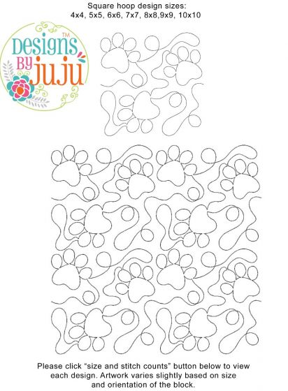 Paw Prints End-to-End E2E Allover Edge to Edge Quilting Machine Embroidery Designs by JuJu