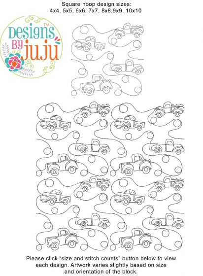 Pickup Trucks End-to-End E2E Allover Edge to Edge Quilting Machine Embroidery Designs by JuJu