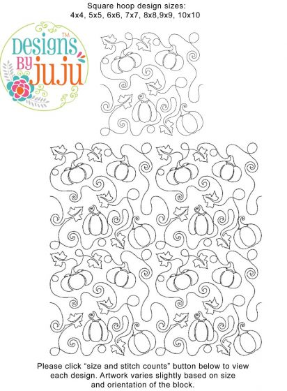 Pumpkins End-to-End E2E Allover Edge to Edge Quilting Machine Embroidery Designs by JuJu