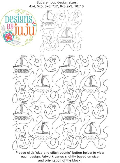 Sailboats End-to-End Quilting Machine Embroidery Designs by JuJu Edge to Edge E2E