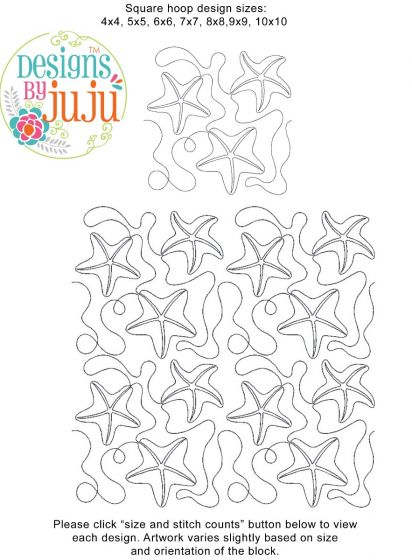 Starfish End-to-End Quilting Embroidery Design