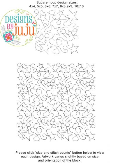 Stars Loops End-to-End Quilting Machine Embroidery Pattern Designs by JuJu for Edge to Edge Continuous Line Quilting With Your Embroidery Machine