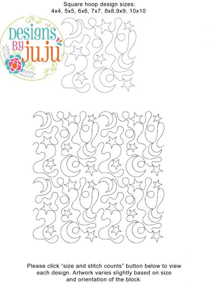 Stars Moons End-to-End Quilting Machine Embroidery Pattern Designs by JuJu for Edge to Edge Continuous Line Allover E2E Quilting With Your Embroidery Machine