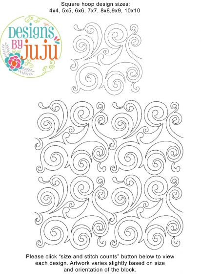 Swirls 1 End to End E2E Machine Embroidery Designs by JuJu for Edge to Edge