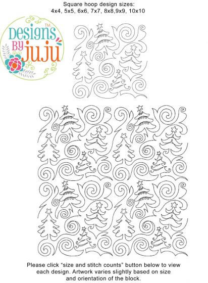 Swirly Christmas Trees End-to-End E2E Allover Edge to Edge Quilting Machine Embroidery Designs by JuJu