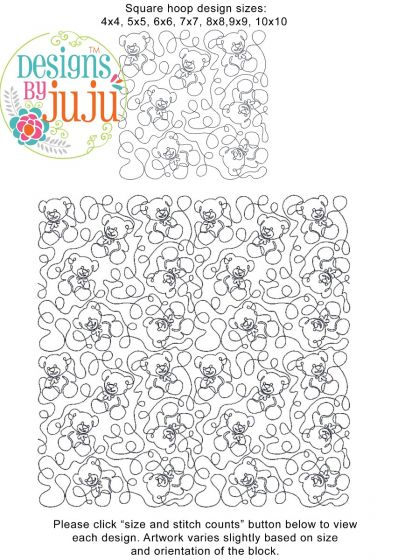 Teddy Bear End-to-End Quilting Machine Embroidery Pattern Designs by JuJu for Edge to Edge Continuous Line Quilting With Your Embroidery Machine