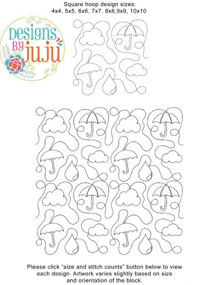 Umbrellas End-to-End Quilting Embroidery Design