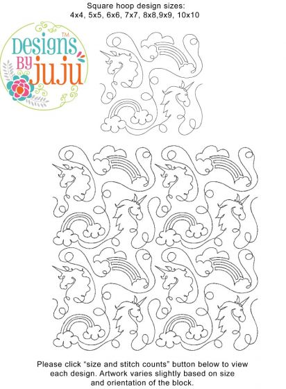 Unicorns End-to-End Quilting Embroidery Design