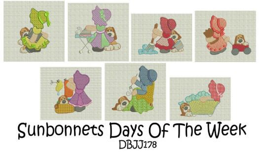 Sunbonnet Sue Days of the Week 4x4 and 5x7