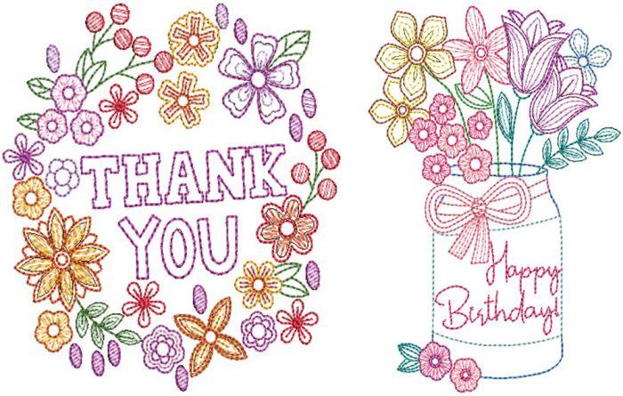 Greeting Cards Set 4 Digital Machine Embroidery Designs by JuJu