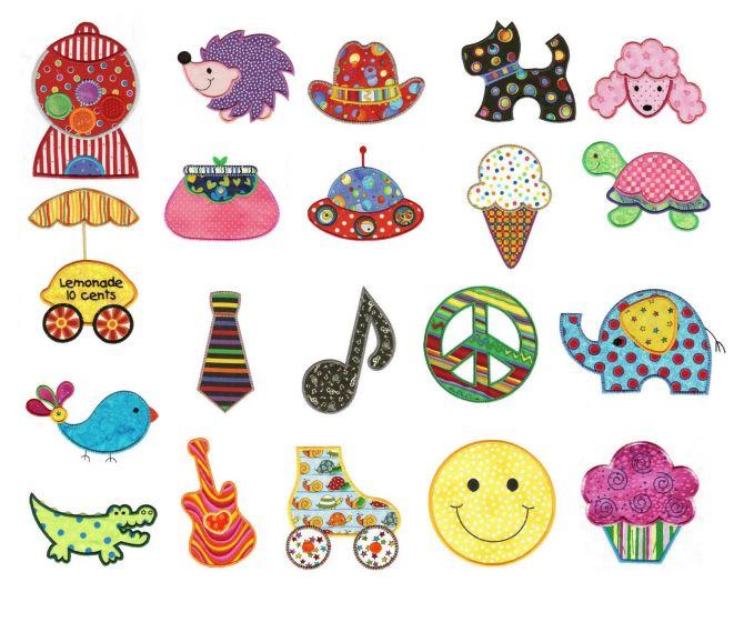 Just for fun lemonade stand, smiley face, scottie dog, hedgehog, guitar, peace sign, bubblegum machine, roller skate and cowboy hat applique machine embroidery designs