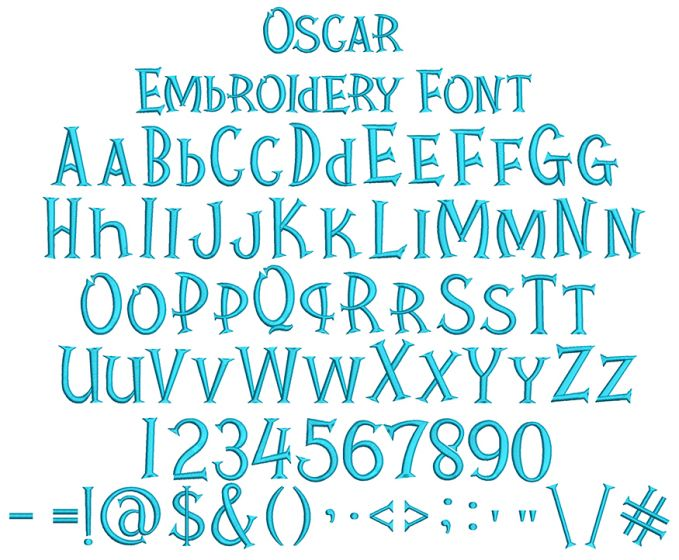 Oscar Embroidery Font