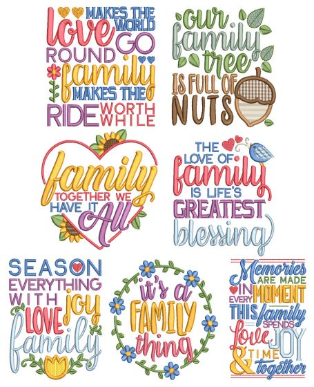 Family Word Art 2 Machine Embroidery Designs By JuJu