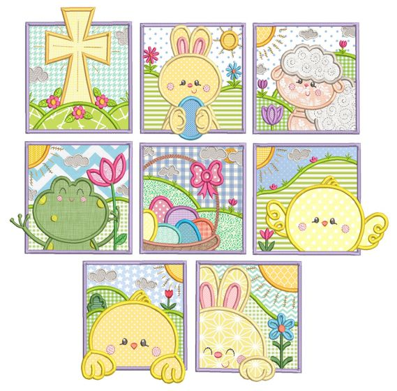 Easter Squares 1 Machine Embroidery Designs By JuJu