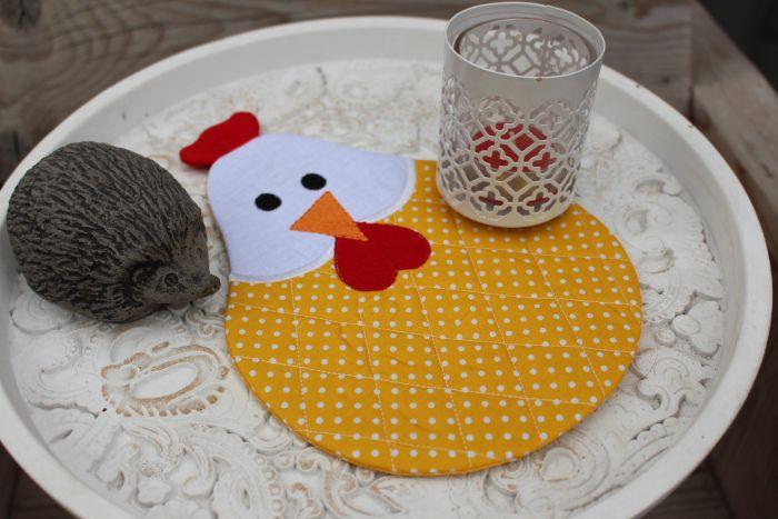 In The Hoop Chicken Mug Rug Designs by JuJu Machine Embroidery Designs