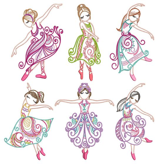 Mehndi Ballerinas 2 Machine Embroidery Designs by JuJu