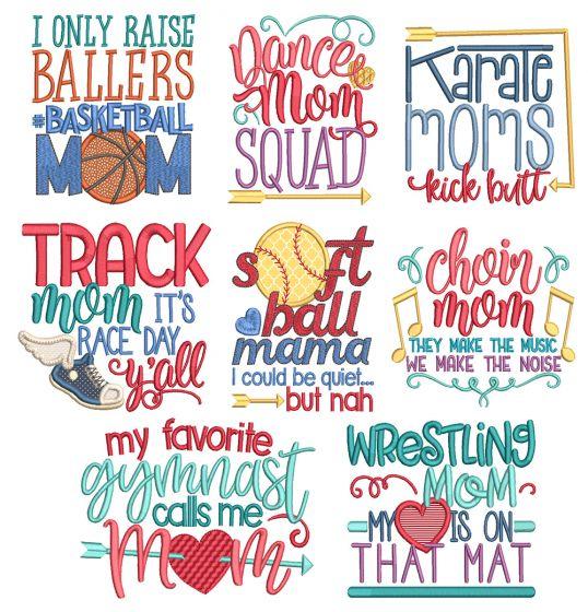 Sports Mom Word Art 1 Machine Embroidery Designs By JuJu