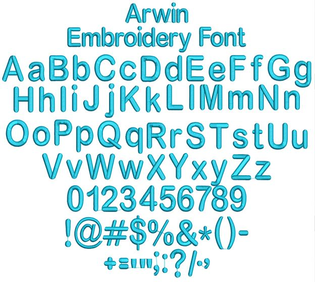 Arwin Embroidery Font Machine Embroidery Designs by JuJu