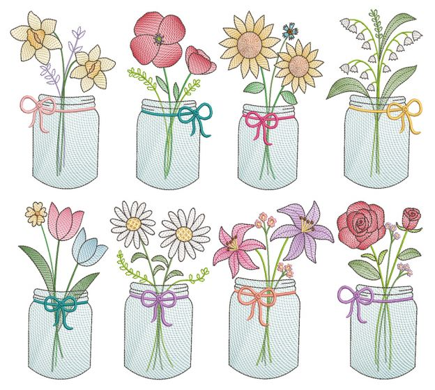Vintage Sketch Mason Flowers Machine Embroidery Designs By JuJu