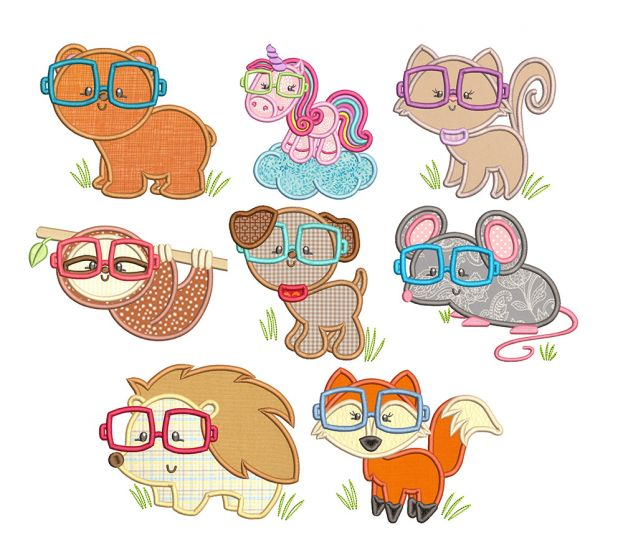 Critters With Glasses Word Art Machine Embroidery Designs By JuJu