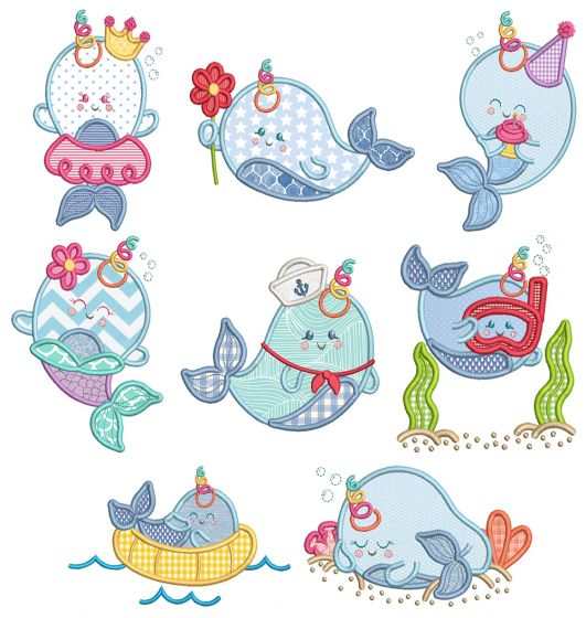 Sweet Narwhals Machine Embroidery Designs By JuJu