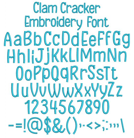 Clam Cracker Embroidery Font Machine Embroidery Designs by JuJu