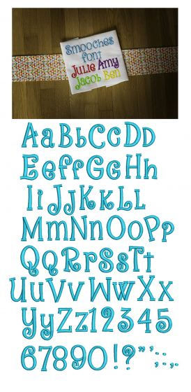 Smooches Embroidery Font Machine Embroidery Designs by JuJu