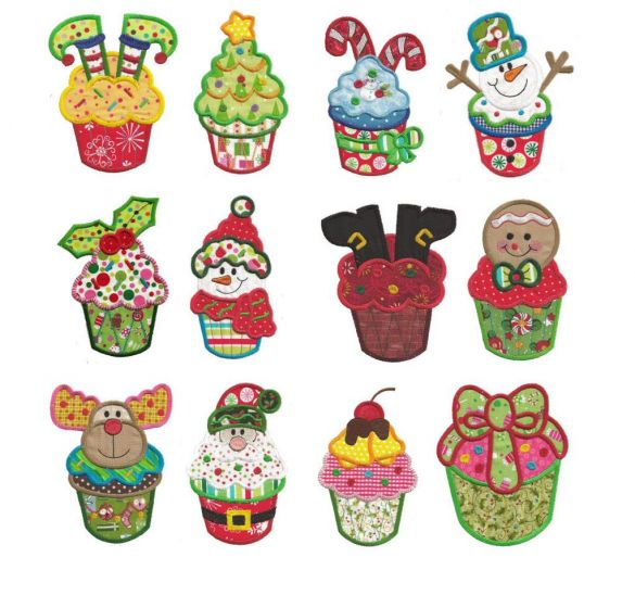 Christmas cupcake applique machine embroidery designs