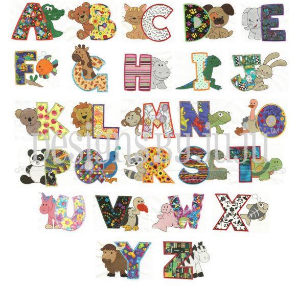 Cute animal applique alphabet machine embroidery designs font monogram