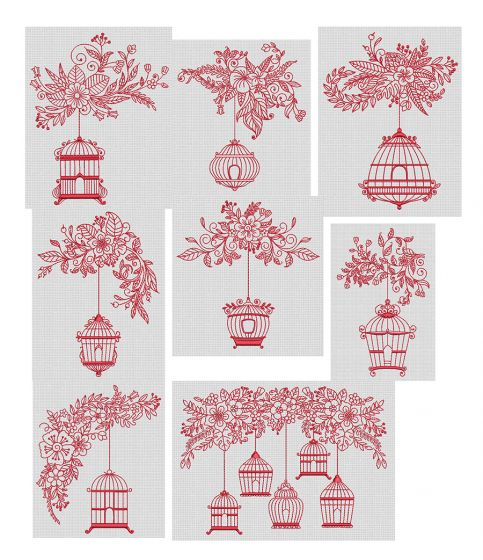 Beautiful Birdcages Redwork Machine Embroidery Designs by JuJu