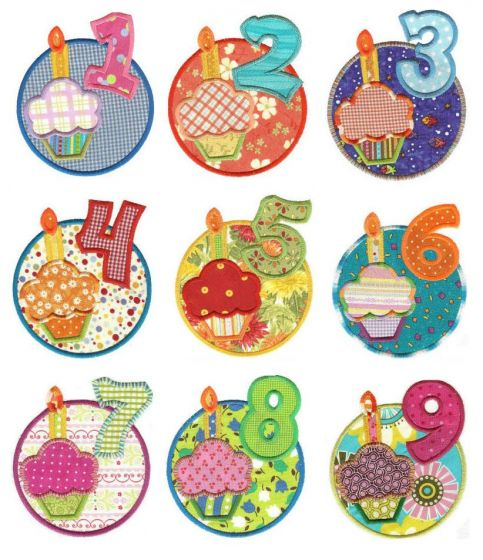 Birthday wishes cupcakes numbers in circles applique machine embroidery designs