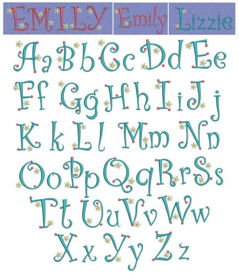 Dots n Daisies curlz font machine embroidery monogram alphabet