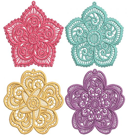 Free Standing Lace Flowers 1