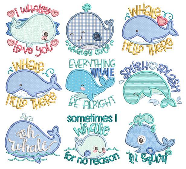 Cute Whales Applique Machine Embroidery Designs by JuJu