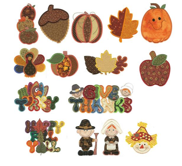 Jumbo autumn harvest applique machine embroidery designs