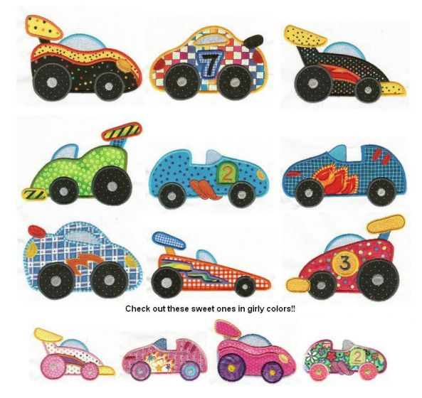 race cars applique machine embroidery designs