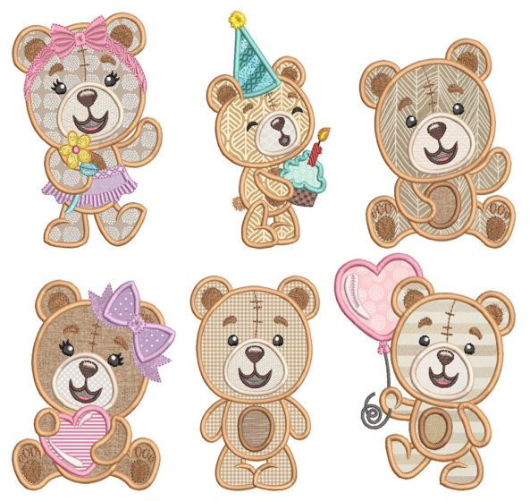 Sweet Teddy Bears Applique