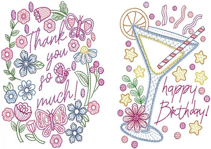 Greeting Cards Set 3 Digital Machine Embroidery Designs by JuJu